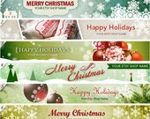 Holiday Etsy Banner - Holiday Etsy Shop Icon Banner set - Christmas & Winter Shop Banners