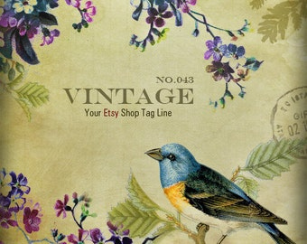 Vintage Shop Banner - Vintage Bird on Tree Branch And Flowers Shop Banner Set