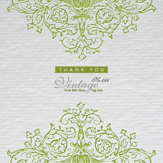 Etsy Shop Banners - Embossed Victorian Ornament on Watercolor Paper Etsy Shop Set - Premade Etsy Banners