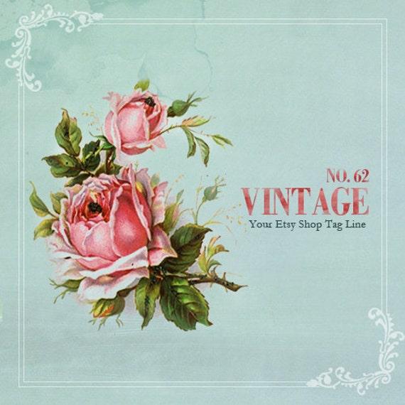 Vintage Etsy Cover Photo- Retro Roses On Egg Blue Etsy Shop Set - Premade Etsy Cover Photo