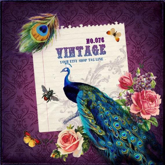 Etsy Shop Banner - Vintage Peacock and Roses On Purple Damask Wall Paper Etsy Banner