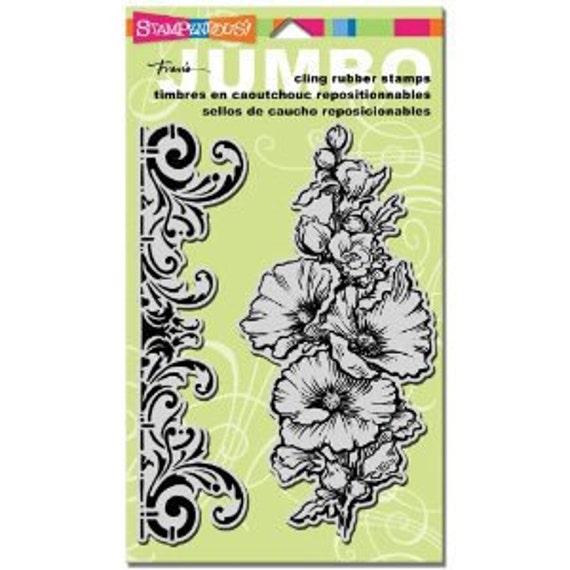 Jumbo HOLLYHOCK Rubber Stamps by Stampendous