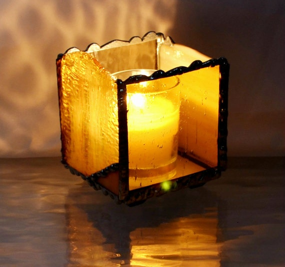 Stained Glass - Candle Holder - Amber - Modern Design - Glass Art - Modern - Home Accients - Votive - Tea Light - Glass Candle Holder
