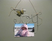 Hanging Joy Wire Word Art Photo Frame, Picture Frame, Wall Hanging, Wall Art with Butterfly, Bundle of Joy, Baby Gift