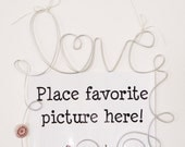 Hanging Love Swirl Picture Frame, Photo Holder, Wire Art Wall Decoration, 4x6 Wire Wall Hanging Frame