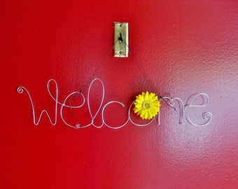 Hanging Outdoor Welcome Sign for Front Door with Yellow Daisy Flower and Ladybug, Wire Art, Wire Word