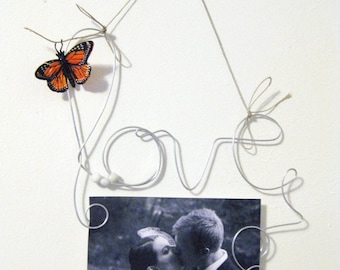 Photo Holder Wire Word Love, Wire Wall Hanging, Wire Art, Picture Frame 4x6, Orange Butterfly, Love Decoration