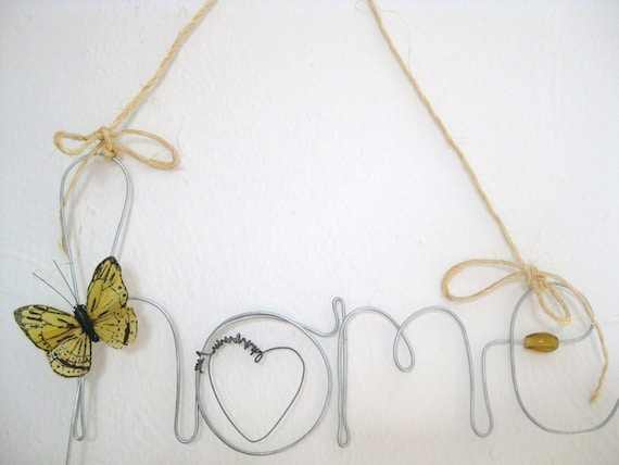 Home is Where the Heart is Decoration, Hanging Wire Word Picture Frame Photo Holder with Yellow Butterfly, Rustic, Housewarming Gift