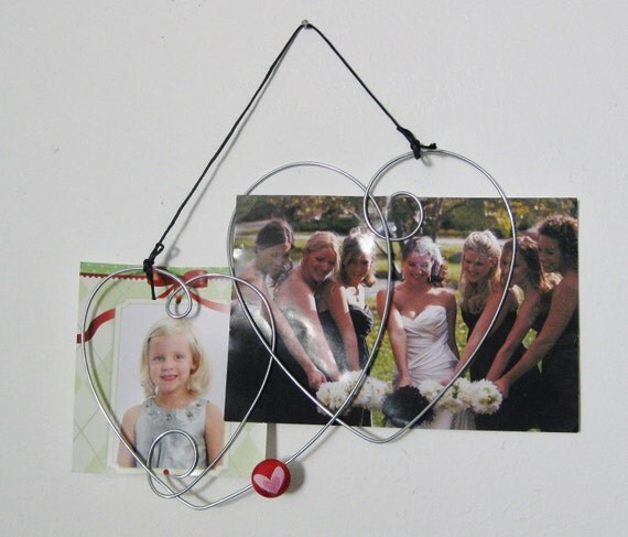 Heart Collage Picture Frame, Wall Hanging, Photo Holder, Wire Art, 4x6, Multi Heart, Wire Wall Art, Red Heart, Double Heart, Love, Gift