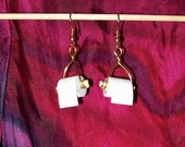 Miniature Toilet Paper  Roll Earrings wire wrapped wood spindle gold