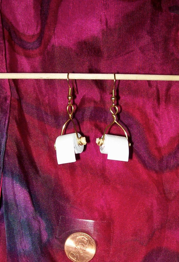 miniature toilet paper roll earrings wire wrapped wood