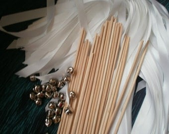 200 Satin Ribbon Wedding Wands DIY.  Your color  choice of ribbon.   Lace Wedding Wands You finish the wands off.  NO BELL