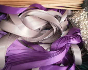 Wedding Lace Wedding Wands, DIY 75  Double Ribbon Wands with a Silver or a Gold Bell bell.