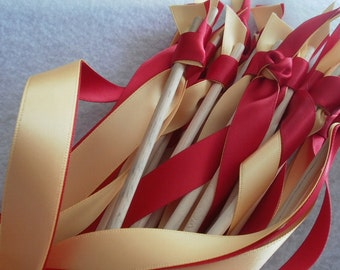 50  triple  ribbon wedding wands with NO BELL