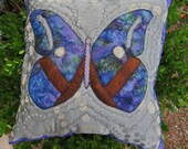Quilted Batik Pillow - Purple Watercolor Butterfly