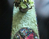 Long Green Quilted Table Runner - Stained Glass Jungle