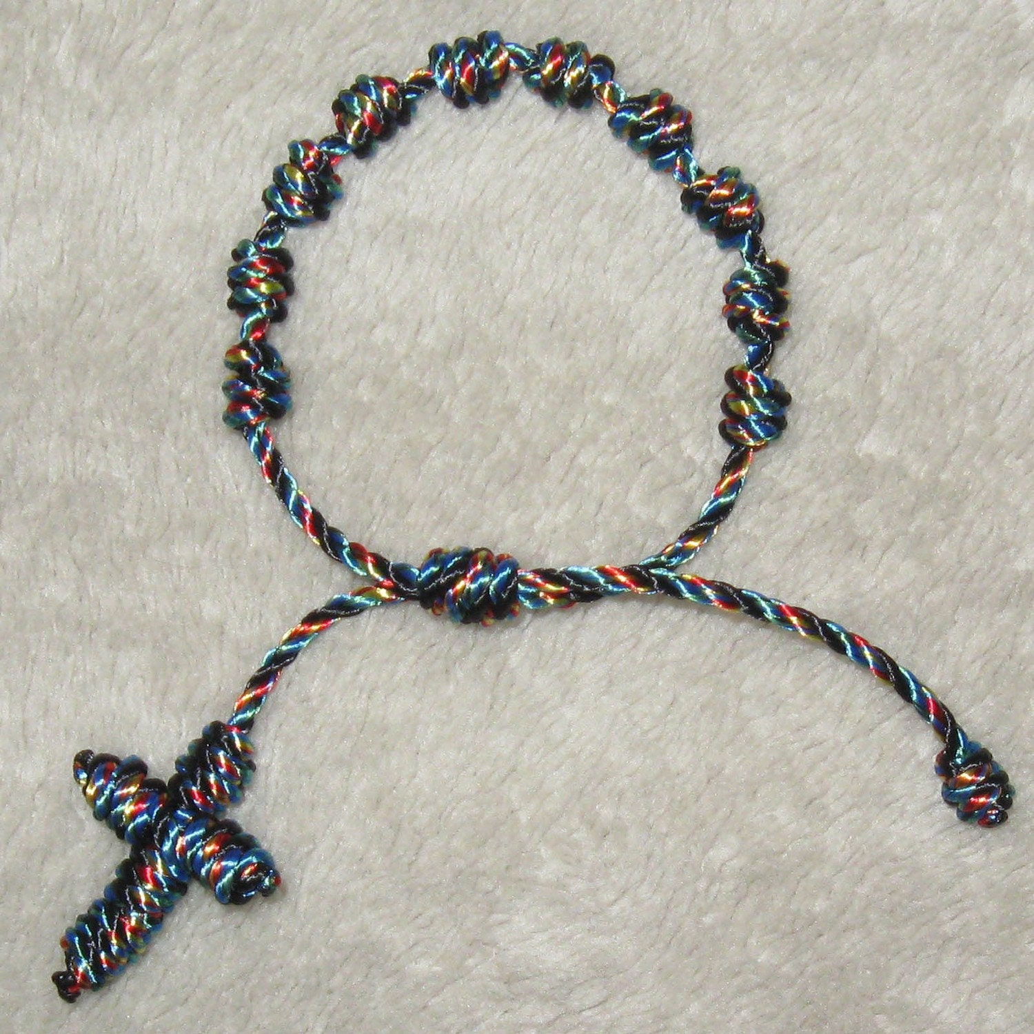 knotted cord catholic rosary bracelet autism colors