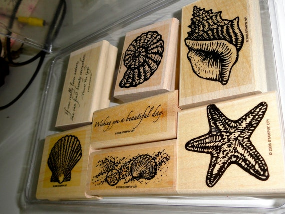 Stampin' Up Beautiful Beach  - 6 stamps wood mount - SALE USED