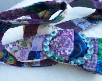 Lavender Garden - Quilted Belt with Blue Jeweled Buckle