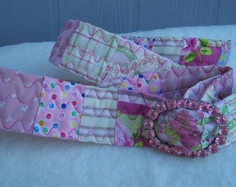 Pink Lemonade - Quilted Belt with Pink Jeweled Buckle
