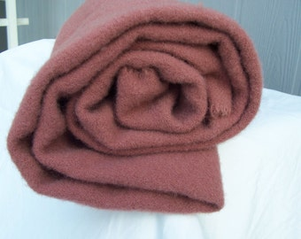 Heathered rose pink felted wool fabric