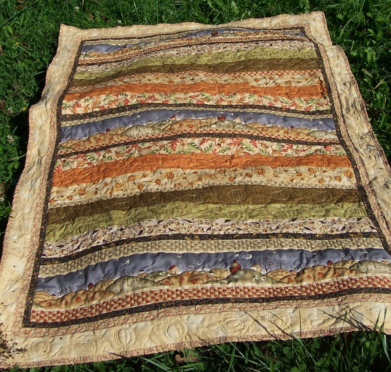 """Autumn Hills 42"""" X 59"""" quilted throw or wall hanging"""