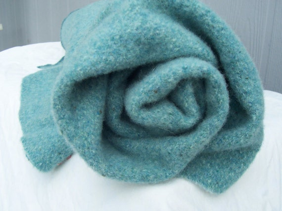 heathered teal, turquoise felted wool fabric