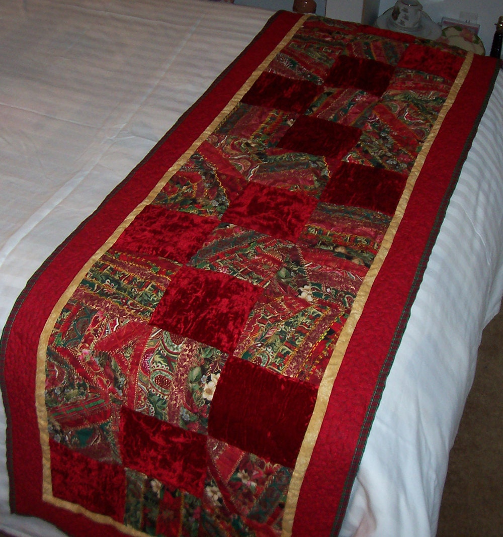 Victorian Christmas 2 Crazy Quilt Bed Runner
