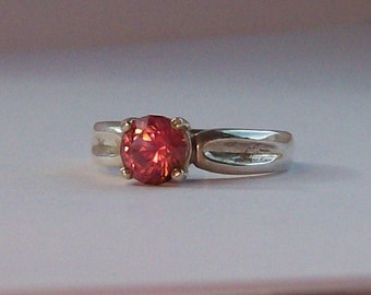 Pink tourmaline ring in sterling silver