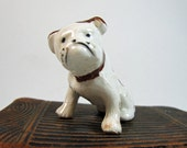 Funny Little Vintage Brown Spotted Bulldog Dog Figurine