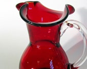 Vintage Ruby Red Hand Blown Glass Pitcher with Flared Rim Collectable