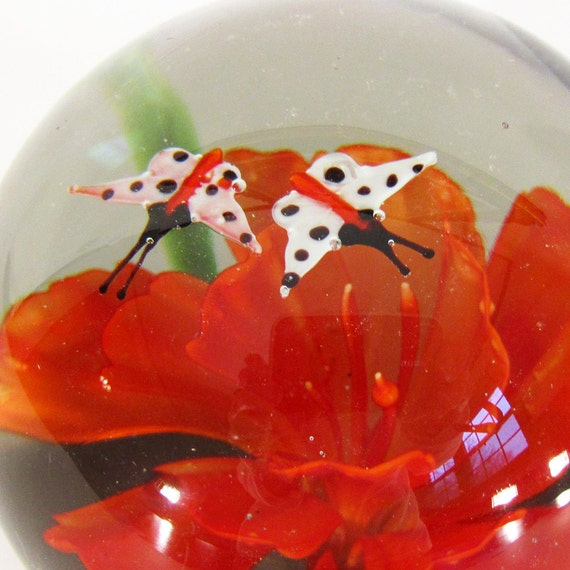 Orange Flower with Pair of Moths or Butterflies Vintage Glass Paperweight