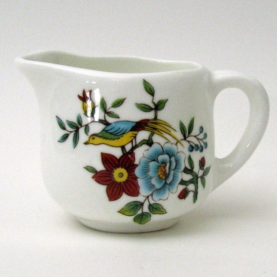 Vintage Miniature Floral Fine Bone China Creamer Pitcher with Bird Collectible