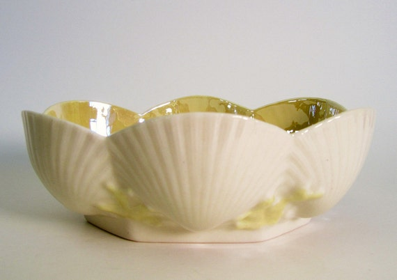 Vintage Belleek Yellow Shell Porcelain Bonbon Candy Dish Made in Ireland