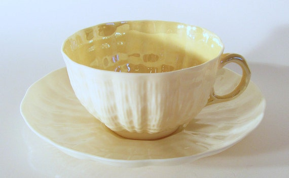 Belleek  Yellow Tridacna Flat Cup and Saucer Vintage Made in Ireland