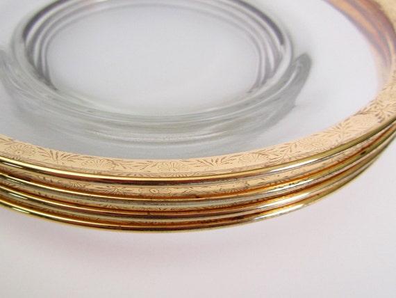 Vintage Floral Gold Rimmed Glass Salad Plates Set of Four