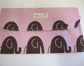 Nappy/Diaper wallet. waterproof lining 'elephants' pink and brown. Washable