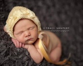 Newborn Baby Bonnet--Newborn Photo Prop--Buttercup Bonnet