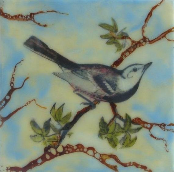 """Original Encaustic Oil Painting --""""Little Bird""""-- 5 x 5 -- KLynnsArt"""