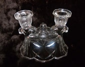 Vintage Glass Double Candlestick Candle Holder with Patterned Glass