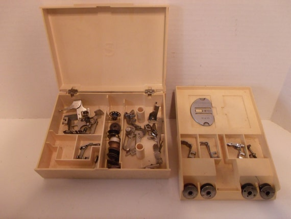 Vintage Singer Sewing Machine Attachments - 13 Attachments and 12 Bobbins in Original Case