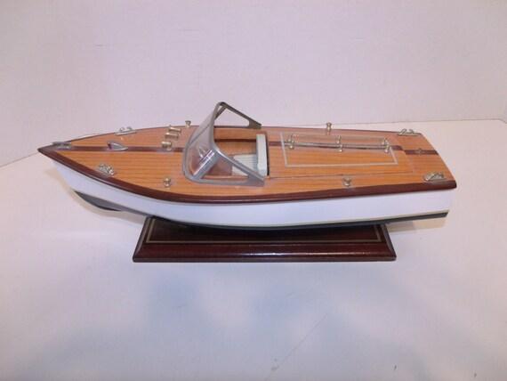 Vintage Wood Speed Boat Model