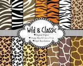 Wild & Classic - Animal prints - Digital paper set - Leopard, zebra, giraffe, tiger