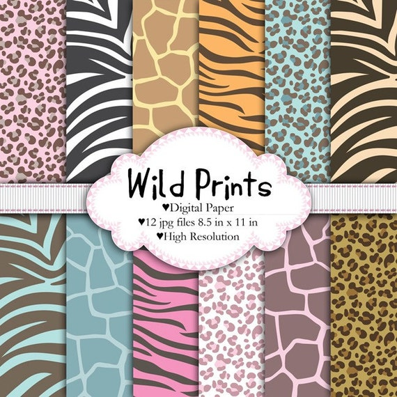 Wild Prints - Digital paper set - Animal print, pattern, leopard, giraffe, tiger, zebra