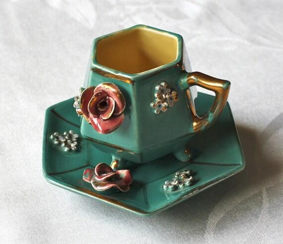 Reserve for Devinne, Unique Vintage Floral Demitasse, Teacup and Saucer