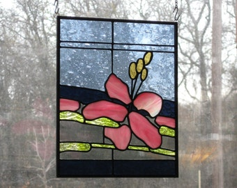 Stained Glass Panel - Pink Waterflower