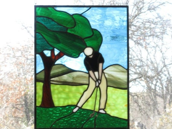 Stained Glass Panel - Golfer