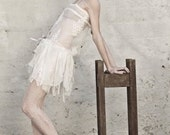 White Lace and Feathers Beaded Slip Dress- For laurenchangmaclean