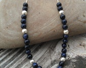 Long Necklace- Blue Goldstone on Sterling Silver Chain