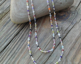 Long Sterling Silver Multi Gemstone Necklace- Wrap Necklace